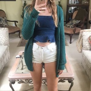 Urban Outfitters emerald green knit cardigan